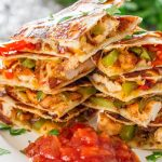 Simple Way to Cook Yummy Chickpeas Lemon Peppers Salad with Refried Bean Veggies Quesadilla